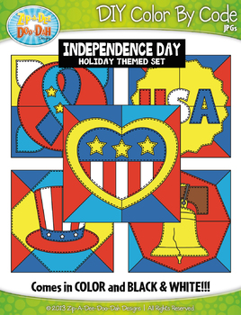 INDEPENDENCE DAY Quilt Color By Code Clipart {Zip-A-Dee-Doo-Dah Designs}