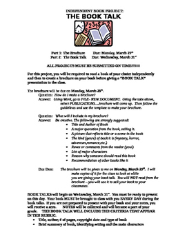 INDEPENDENT BOOK PROJECT: Brochure & Book Talk Assignment