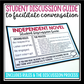 INDEPENDENT NOVEL DISCUSSION QUESTIONS & STUDENT GUIDE