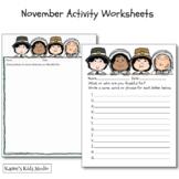 INDEPENDENT Worksheets for November (Karen's Kids Printables)
