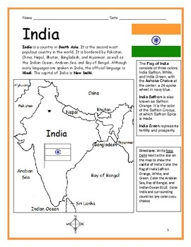 INDIA - Printable handouts with map and flag