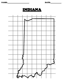 INDIANA Coordinate Grid Map Blank