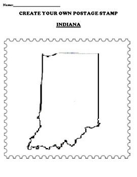 INDIANA Create your Own Postage Stamp Worksheet
