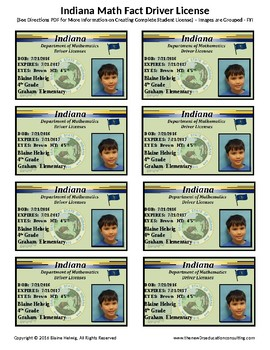 INDIANA Math Driver's License - Math Fact Incentive Program -TEMPLATES - FREE