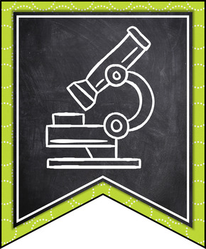 INDIANA SCIENCE STANDARDS BANNERS, 7th GRADE, LIME GREEN & CHALKBOARD