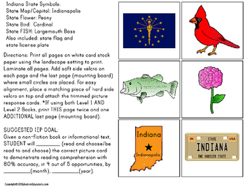 INDIANA State Symbols ADAPTED BOOK for Special Education and Autism