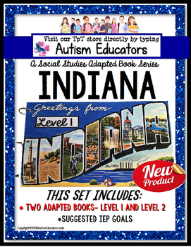 INDIANA State Symbols ADAPTED BOOK for Special Education a