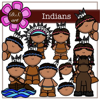 INDIANS Digital Clipart (color and black&white)