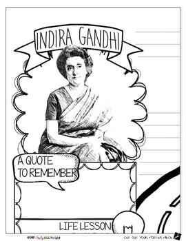 INDIRA GANDHI, WOMEN'S HISTORY, BIOGRAPHY, TIMELINE, SKETCHNOTES, POSTER