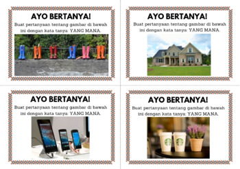 INDONESIAN QUESTION WORDS - Task Cards - Fun Speaking Activities