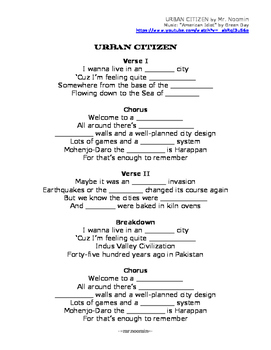 INDUS VALLEY CIVILIZATION / INDIA lyrics and worksheets for online music video