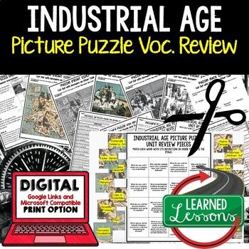 INDUSTRIAL AGE Picture Puzzle Unit Review, Study Guide, Test Prep