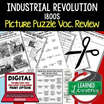 INDUSTRIAL REVOLUTION 1800 Picture Puzzle Unit Review, Study Guide, Test Prep