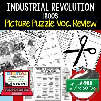 INDUSTRIAL REVOLUTION 1800 Picture Puzzle Unit Review, Study Guide, Test Prep