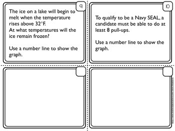INEQUALITIES - Graphing One Variable Inequalities - Task Cards