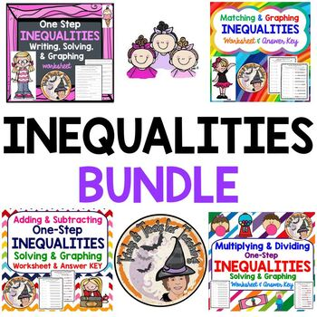 INEQUALITIES Worksheets BUNDLE Add Subtract Multiply Divide Graph Solve Match