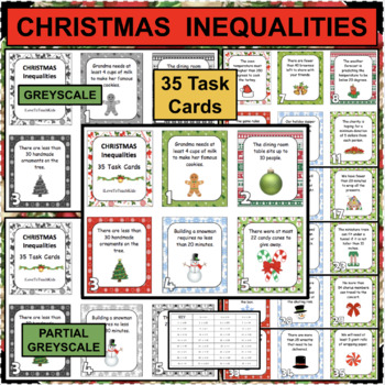 INEQUALITIES for CHRISTMAS Set of 35 REAL WORLD Task Cards FUN & Differentiated