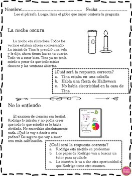 INFERENCE SHORT STORIES IN SPANISH