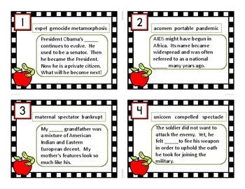 INFERENCE TASK CARDS (GREEK AND LATIN ROOTS)