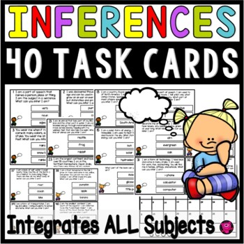 INFERENCE TASK CARDS FLIP BOOKS and POSTERS