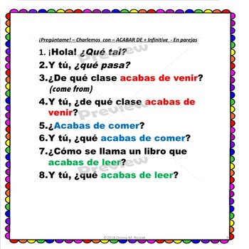 Spanish INFINITIVES -  Questions with Infinitive Expressions in a BUNDLE!
