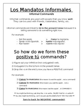 INFORMAL COMMANDS GUIDE IN SPANISH! and homework!
