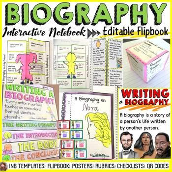 BIOGRAPHY: INTERACTIVE NOTEBOOK: EDITABLE FLIPBOOK: QR CODES
