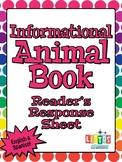 INFORMATIONAL ANIMAL BOOK Response Sheet - English & Spanish!