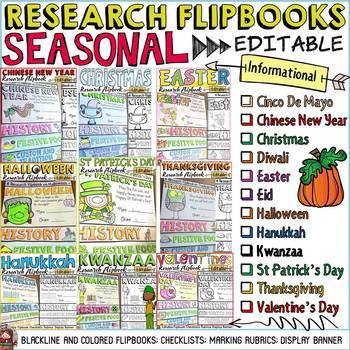 INFORMATIONAL WRITING: RESEARCH FLIPBOOK TEMPLATES BUNDLE: CELEBRATIONS