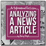 INFORMATIONAL TEXT LESSON {Analyzing A News Article & Maki