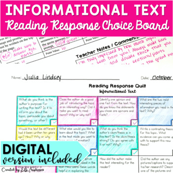 INFORMATIONAL TEXT - Reading Response Quilt