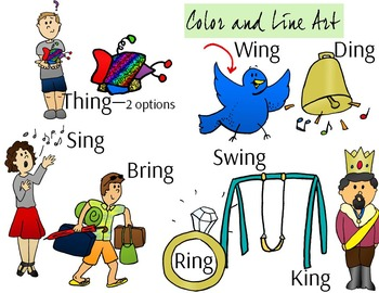 ING Ending Phonics Clip Art Set - Color and Line Art 18 pc set