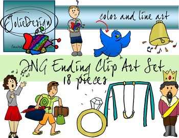 ING Ending Phonics Clip Art Set - Color and Line Art 18 pc set
