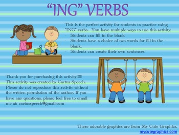ING VERB FLASH CARDS