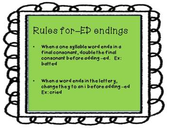 ING and ED endings centers work with worksheets, task cards and charts