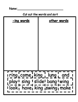ING word family activity