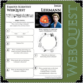 INGE LEHMANN - WebQuest in Science - Famous Scientist - Differentiated