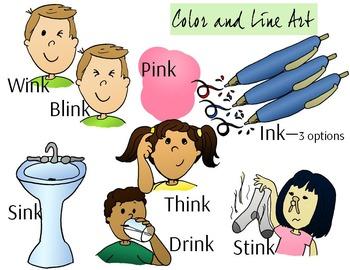 INK Ending Phonics Clip Art Set - Color and Line Art 17 pc set