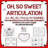 NO PREP Valentine's Day Articulation: /L/, /R/, /S/, /TH/, & /V/ SOUNDS