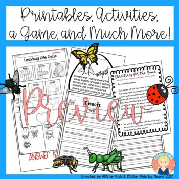 INSECT CHARACTERISTICS -Life Cycle, Activities and Printables for K-1