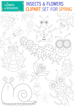 INSECTS AND FLOWERS CLIPART SET FOR SPRING