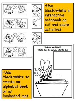 INSECTS-BEGINNING SOUNDS PUZZLE CENTER ACTIVITIY- COLOR+BLACK/WHITE
