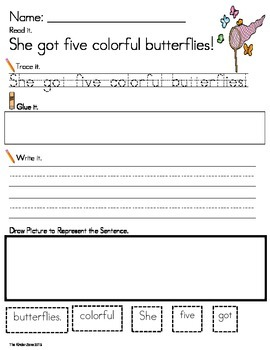 INSECTS & BUTTERFLIES LITERACY SENTENCE BUILDING ...READ.TRACE.BUILD.WRITE IT!