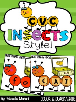 INSECTS-CVC WORD WORK-Insects Literacy Center Activity (CCSS)
