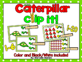 INSECTS- Caterpillar, Count & Pin Math Center Game- Color + Black and white