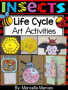 INSECTS-LIFE CYCLE ART ACTIVITIES: Butterfly, Bee, Ladybug