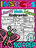 INSECTS Worksheets-Literacy, Science and Math NO PREP INSECTS PRINTABLES