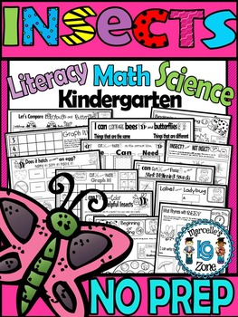 INSECTS Worksheets-Literacy, Science and Math NO PREP INSE