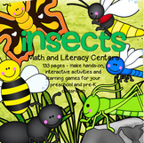 INSECTS Bugs Math Literacy Centers Activities and Printables Preschool 127 pages