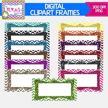 Digital Frames - Chevron Glitter Digital Frames {COMMERCIAL USE}
